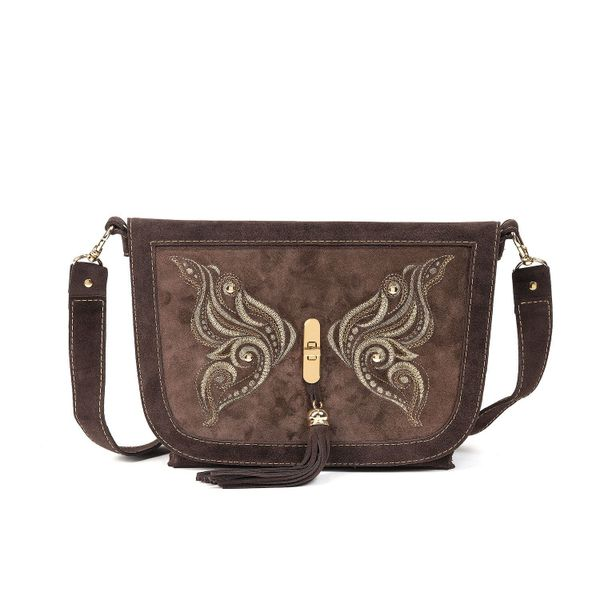 Suede bag 'swallowtail' brown with gold embroidery