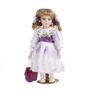 Porcelain doll Mademoiselle purple-white dress