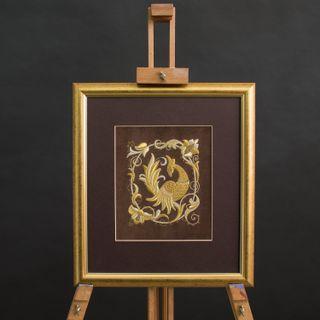 "Panel hand embroidery ""Pava Bird"""
