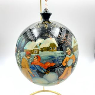 "Palekh / Christmas tree ball ""Winter fun"" wooden, master Kuzmenko"