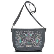 Suede bag 'Malta' gray color with silver embroidery
