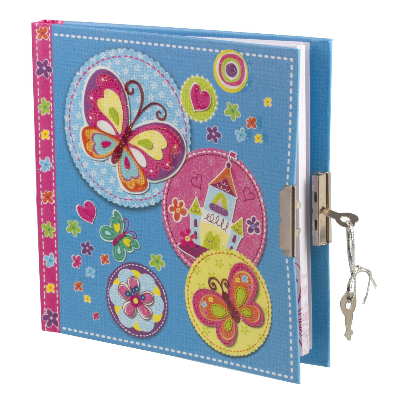 """BRAUBERG / Notebook """"Butterfly"""" SMALL FORMAT 60 sheets A6, 135x135 mm, hardcover, metal lock, sequins, line"""