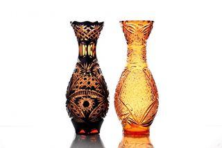 "Crystal vase for flowers ""Hope"" large amber"