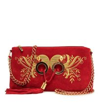 Suede bag 'Golden bird' red color with Golden embroidery