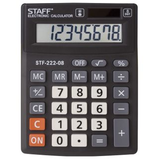 Desktop calculator STAFF PLUS STF-222, COMPACT (138x103 mm), 8 digits, dual power supply