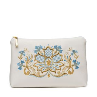 Zipper Vasilki white color with Golden embroidery