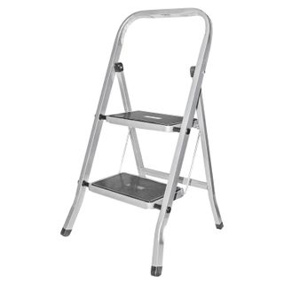 CLASS PLUS / Steel ladder, 2 WIDE STEPS 20x30 cm, upper platform 45 cm, up to 120 kg