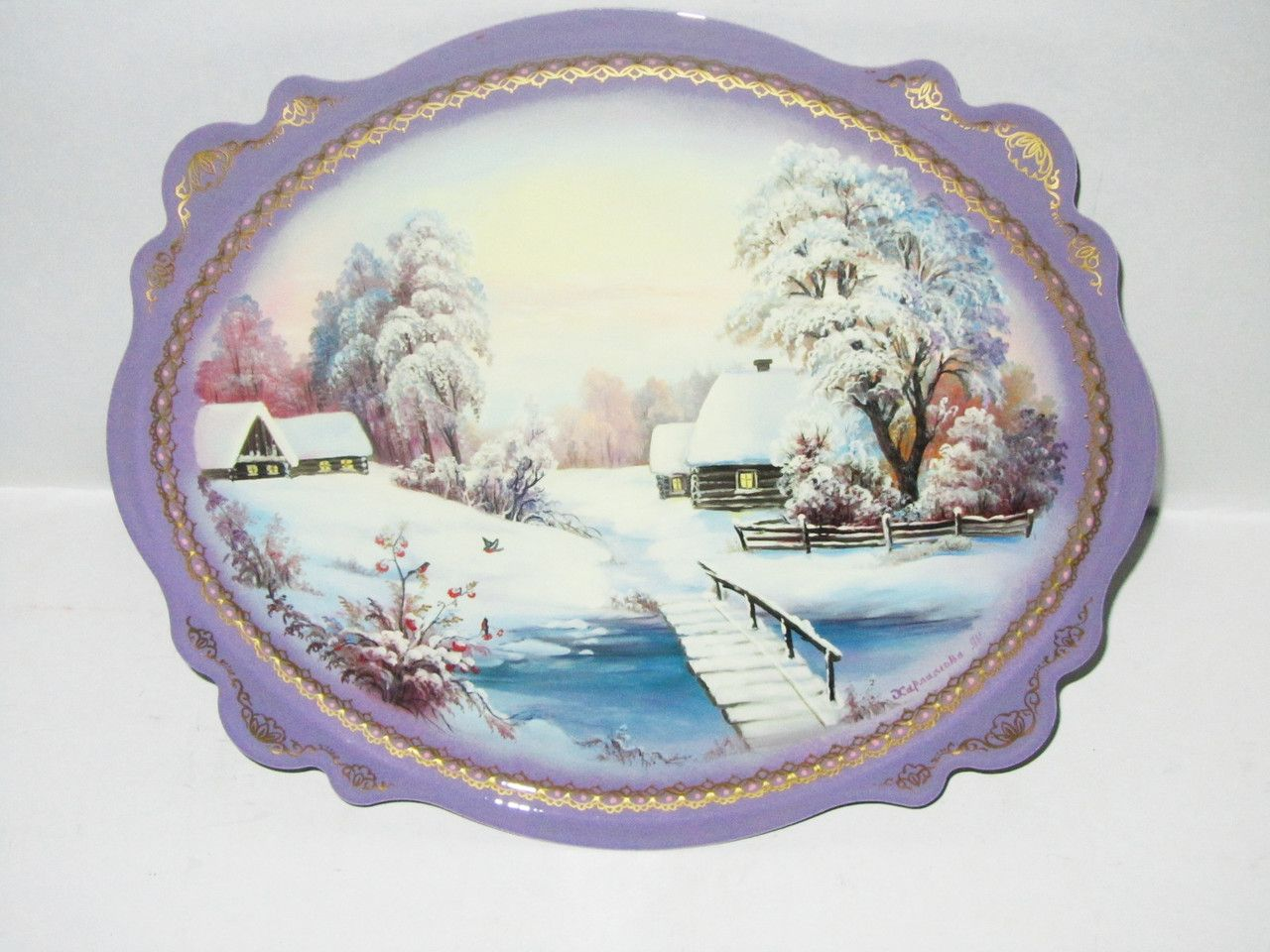"""Souvenirs from N. Tagil / Tray """"Subject painting. Country winter"""", 30x25 cm"""