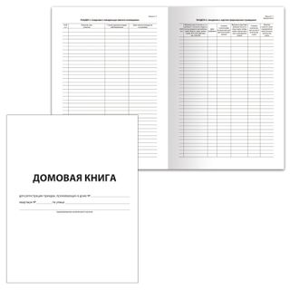 House book (apartment book), Form 11, 12 sheets, A4, 198 x278 mm, cardboard, offset, BRAUBERG
