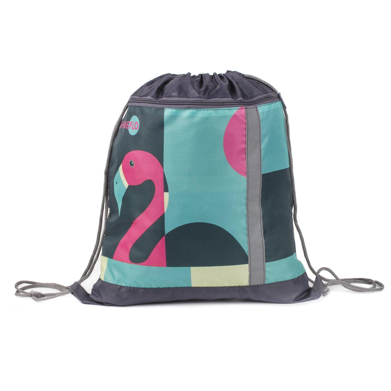Shoe bag, zipper pocket, mesh for ventilation, reflective, Flamingo, 46 * 36 cm