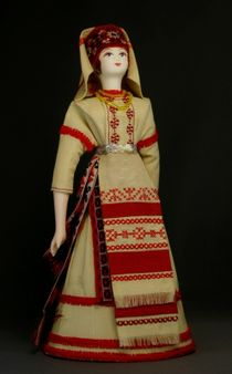 Doll gift porcelain. St. Petersburg lips. Izhora women's festive costume. The end of the 19th century.