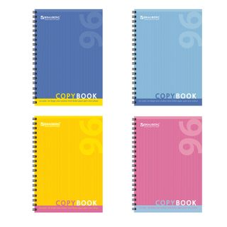 Notebook A4 96 sheets, BRAUBERG ECO, comb, cell, cover carton, ONE COLOR