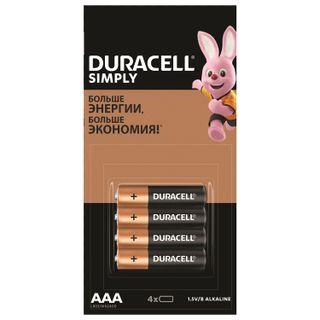 DURACELL / Batteries Simply AAA (LR03, 24A) alkaline little fingers, SET 4 pcs. (tear-off block)