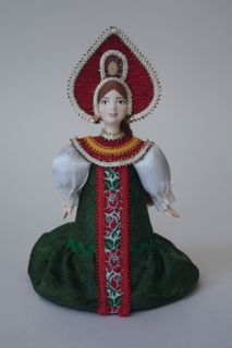 Doll gift porcelain. The Vladimir province. Russia. Maiden costume. Late 19th-early 20th century.