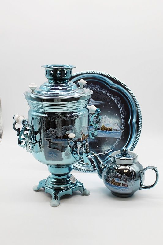 "Dulevo porcelain / Electric samovar 3 l. ""Night"" in the set"
