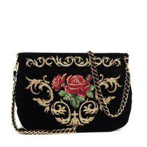 Velvet bag 'Dolce Rose' black