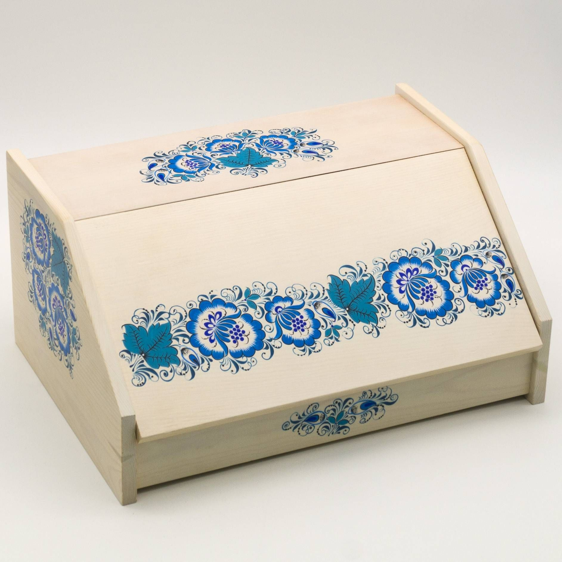 Craft / Bread box painting, khokhloma, wooden