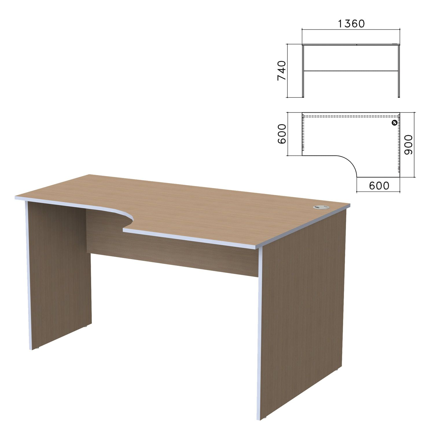 "Table written ergonomic ""Budget,"" 1360s900s740 mm, right, nut Ontario"