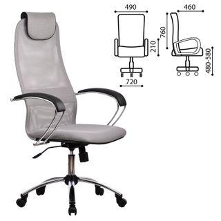 BK-8CH office chair, mesh fabric, chrome, light gray