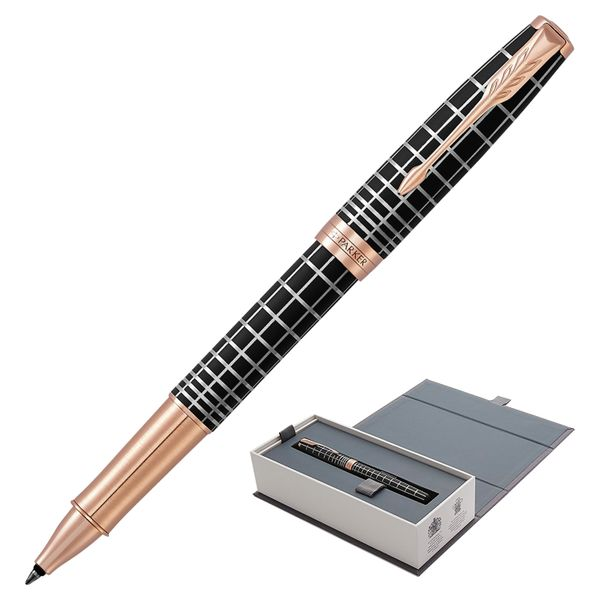 Rollerball pen PARKER 'Sonnet Premium Brown Rubber PGT', body brown resin with engraving, gold plated details, black