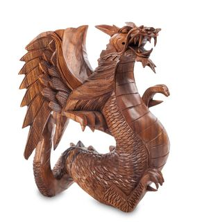 Figurine wooden Dragon 32 cm