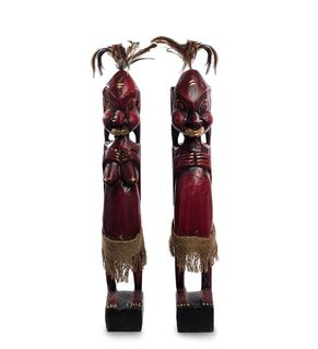"Wooden statuette ""Asmat red"" 50 cm"