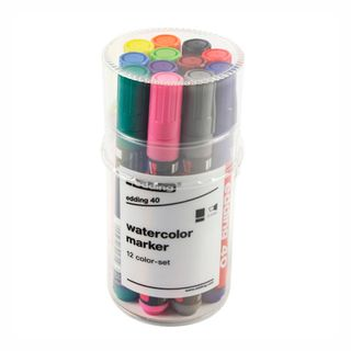 Edding / Set of colored markers, beveled nib, 2-5 mm, 12 pieces, plastic pencil case Assorted