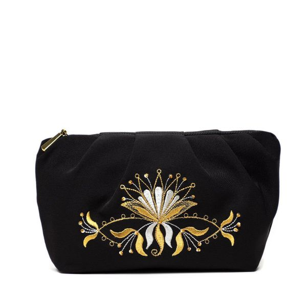 Cosmetic bag 'Aida' black with a gold flower pattern