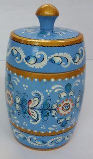 "Wooden barrel ""Shenkur blue painting"" 11 cm"