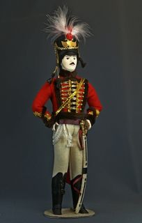 Doll gift porcelain. Hussars. Military suit. 1808-1809 Russia.