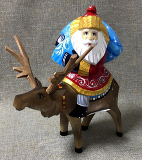 Toy Santa Claus on reindeer, Bogorodskaya factory