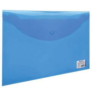 Folder-envelope with button BRAUBERG, A4, 100 sheets, transparent blue, 0.15 mm