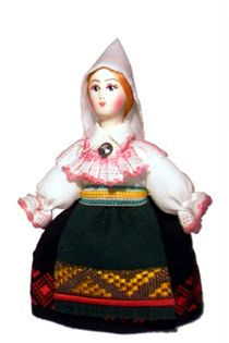 Doll gift. Estonian women's costume ser. 19th century. Region: Harjumaa.