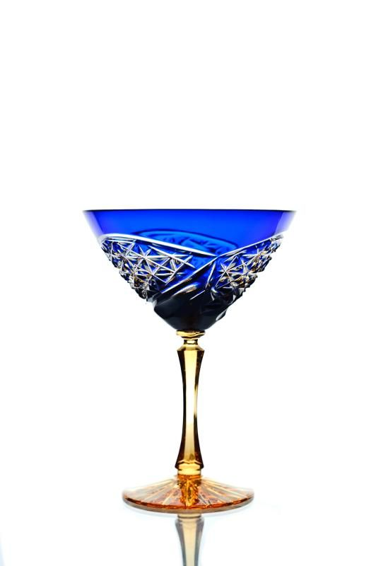 Set of crystal martini glasses amber blue 2 pieces