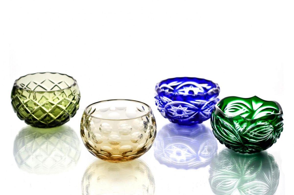 "Crystal vase for the table ""Evgeniya"" small amber"