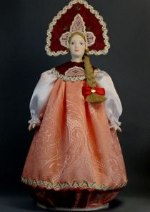 Doll gift porcelain. Traditional girl suit (styling).18-19 century Russia.