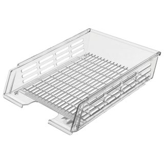 Tray horizontal paper of STAMM with grooves A4 (360х270х80 mm), mesh, transparent