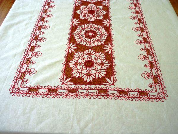 Tablecloth rectangular Karelian patterns with openwork inserts
