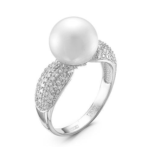 RING, WHITE GOLD, PEARL WHITE