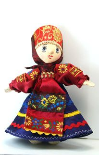 Souvenir doll Ulyana.Traditional Moscow costume. Russia