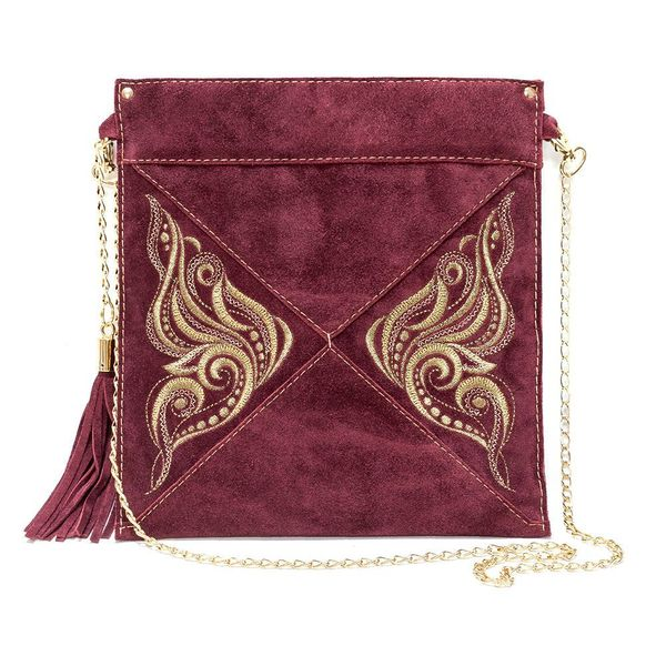 Suede bag Butterfly Burgundy with gold embroidery