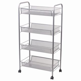 BRABIX / Office and household shelf (trolley) 4 tiers, on wheels, metal, silver, 43.5x26x83.5 cm