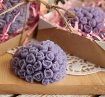 Lilac heart of roses - handmade olive soap