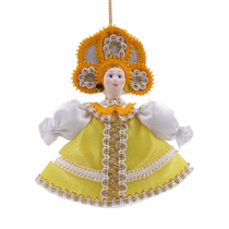 Christmas toy porcelain Girl in Russian costume, 14cm