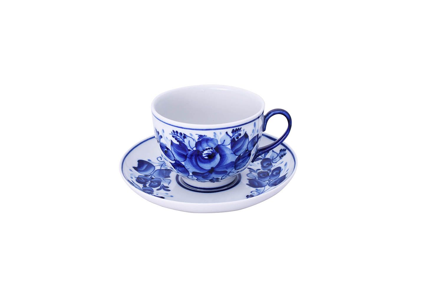 Dulevo porcelain / Tea cup and saucer set, 12 pcs., 275 ml Pomegranate Flowers