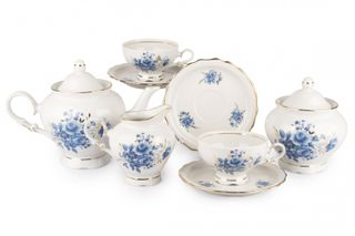 Dulevo porcelain / Tea set 15 pcs. Agate Blue Bouquet