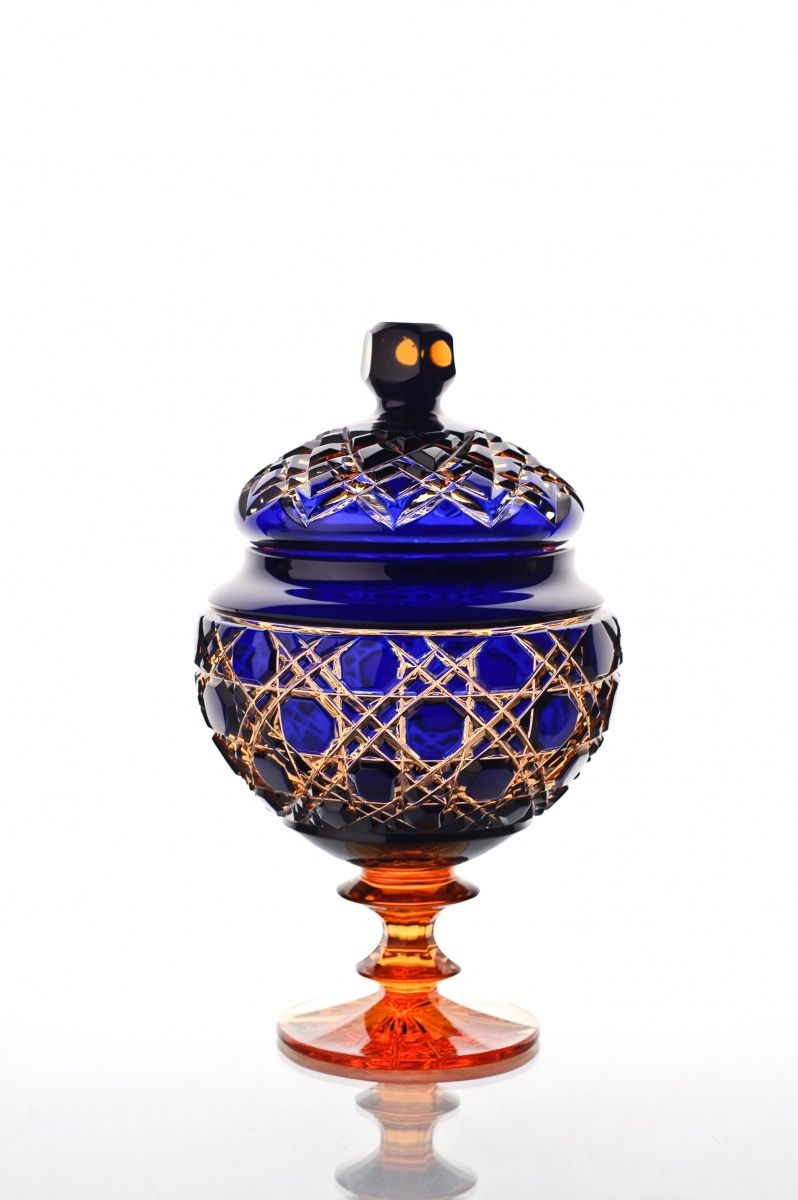 """Crystal vase for sweets with lid """"Lyubava"""" amber-blue"""