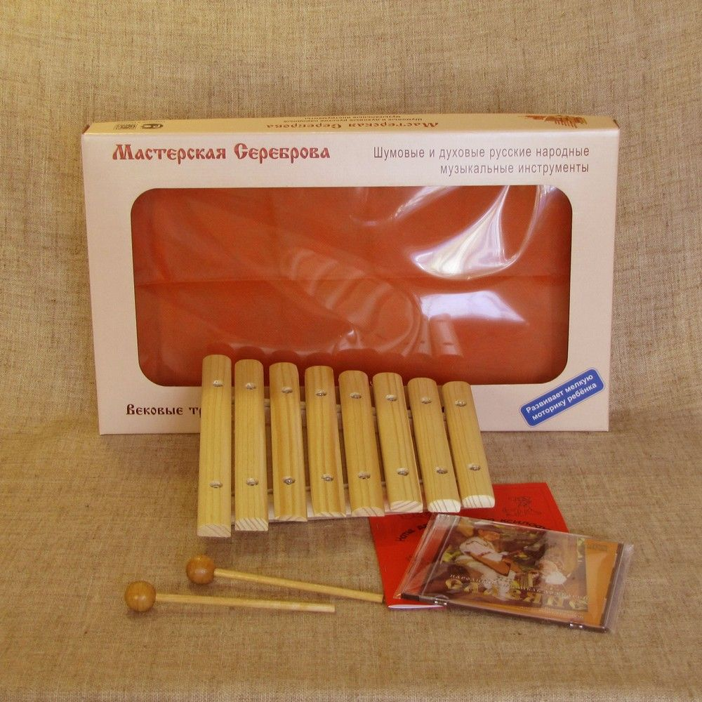 Workshop Serebrov / Diatonic Xylophone in A major (8 plates, low resonator, spruce)