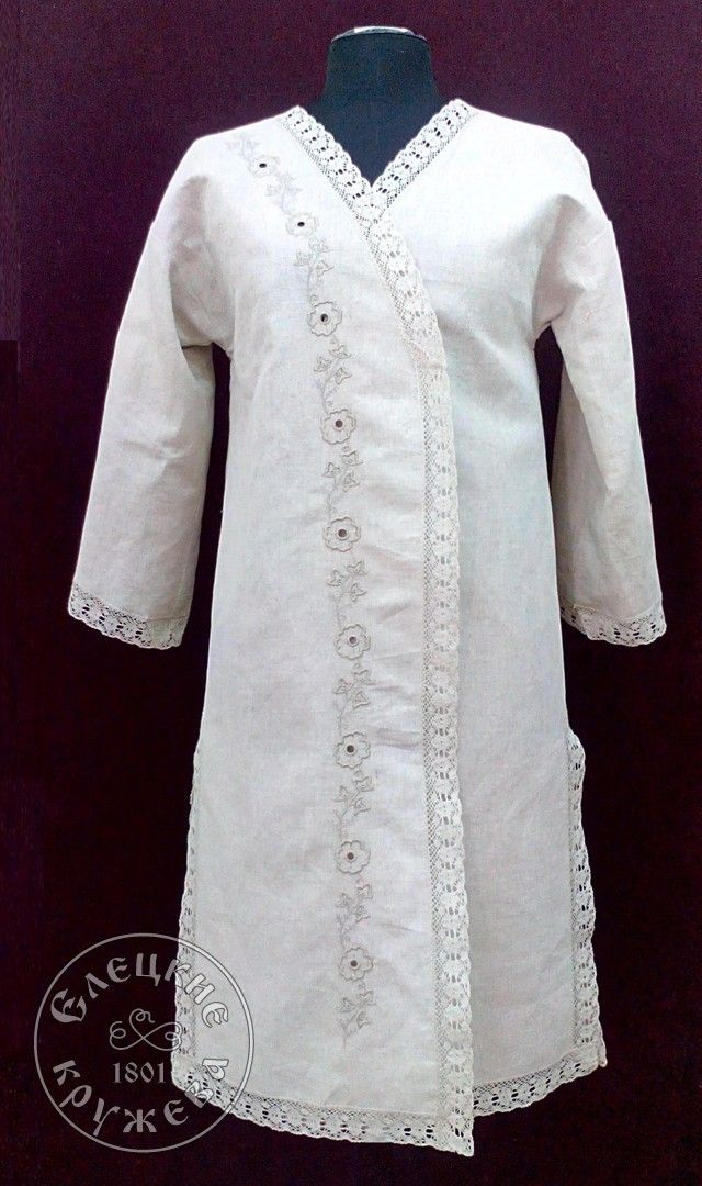 Yelets lace / Women's linen robe for a bath