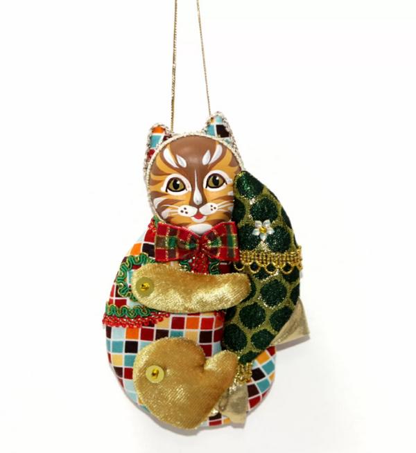 Matryoshka Factory / Christmas tree decoration Cat with a fish, 14 cm